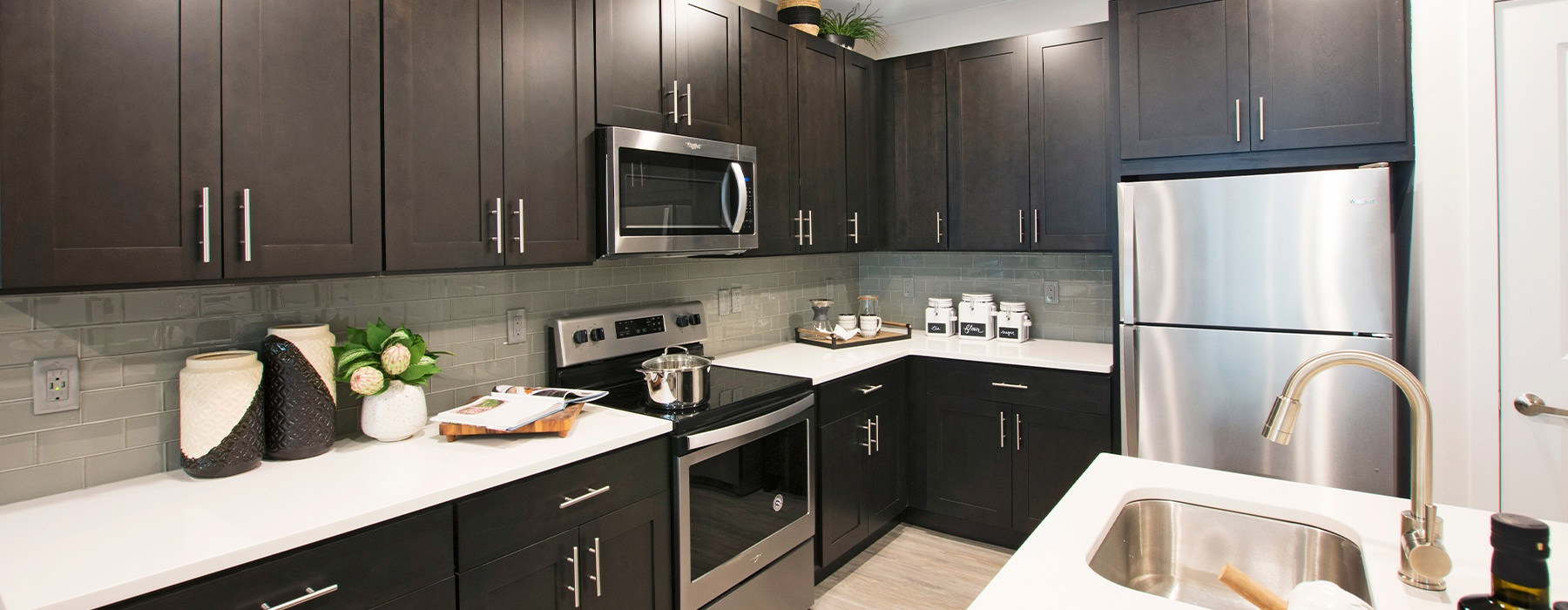 Kitchen with ample cabinet and countertop space