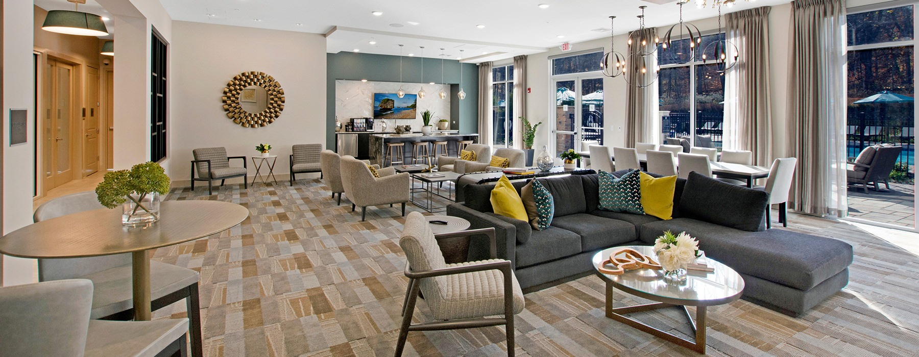 Clubhouse with a kitchen and lounge seating